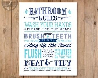 Beautiful Kids Bathroom Rules Art Print, Pre Teen, Bathroom Subway Typography Wall Art  Print