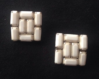 Vtg 50s Weiss Milk Glass Clip Ons Signed