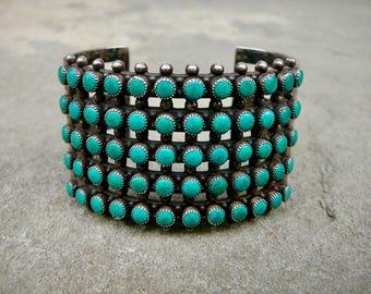 Turquoise Sterling, Turquoise Bracelet, Fred Harvey Jewelry, Snake Eye Bracelet Turquoise, MCM/Modern Machine Age Tourist