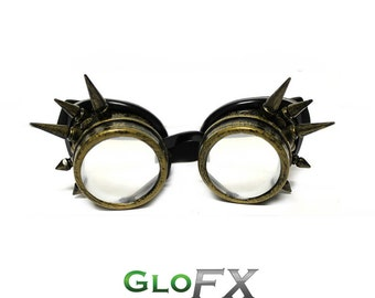 GloFX Brass Spike Steampunk Padded Goggles Rubber Comfort Pads Rave Welding Cyber Punk Goth Dieselpunk Burning Glasses