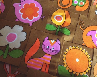 Retro fabric cut out patches (6) // Childrens vintage fabric animals flowers 1970s 70s // UK seller