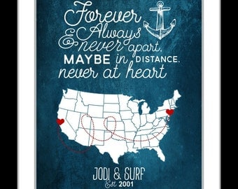 Long distance relationship valentine gift love quote valentines gift, couples personalized world map military deployment valentine map art