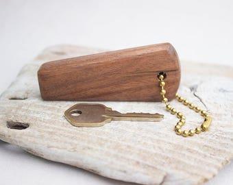 Black Walnut Wood Key Chain - Hand Shaped Wooden Keychain with Silver Tone Split Ring
