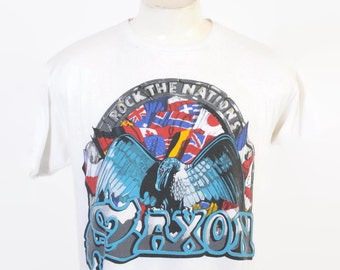 Vintage 80s SAXON T-SHIRT / 1980s Rock The Nations 1986 Concert Tour Metal Tee Shirt S
