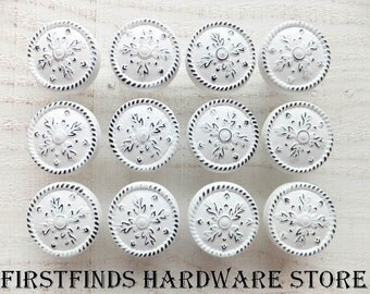 12 Knobs White Shabby Chic Drawer Pulls Kitchen Cabinet Hardware Painted Metal Medium Door Cupboard Snowflakes Distressed ITEM DETAILS BELOW