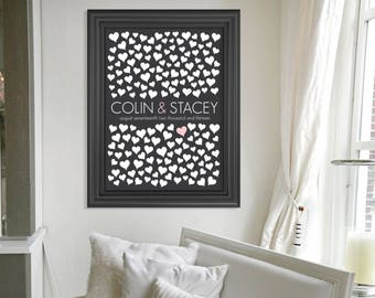 "Guest Book Alternative / Wedding Signature Guest Print / Wedding Guestbook Poster Print / 150 Guest Sign In Signature Hearts / 18""x24"""