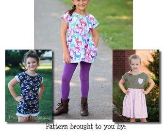 Girls Lea Dolman Tunic, Dress & Romper Pattern Sizes 1/2-14