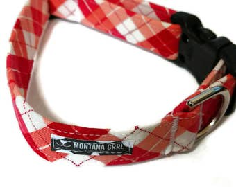 Pretty in Pink Plaid Pet Collar, pink plaid dog collar, pink collar, girl collar, red white collar