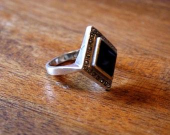 Sterling 925 Vintage Art Deco Black Onyx Diamond shape Stone Ring sz 8.75