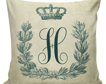 Throw Pillows, Pillow Covers, Decorative Pillows, Monogram Pillow, Teal, Cotton Front with Cotton or Burlap Back  #CH0034, Christmas Pillows