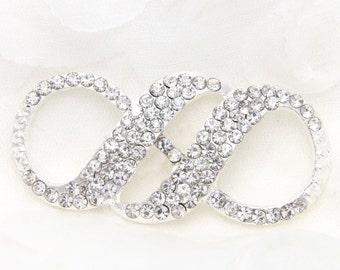 Rhinestone Infinite, Rhinestone brooch craft,Crystal buckle,Wedding rhinestone hair, Bridal dress rhinestone sash applique - NO PIN
