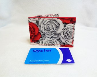 Silver and Red Rose Design Oyster Card Holder - Credit Card Holder - Business Card Holder - Gift Card Purse - Travel Wallet - Gift for Her