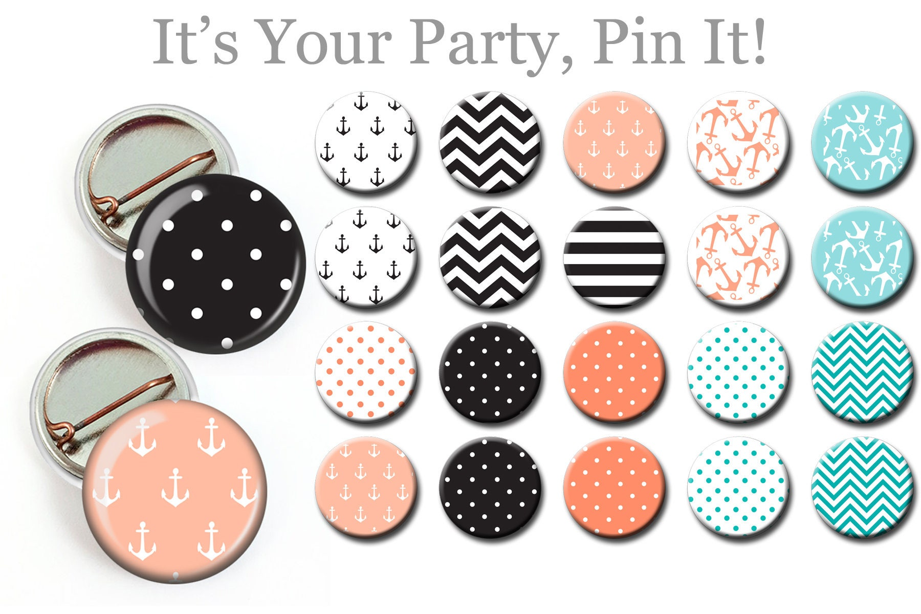 Nautical Theme Birthday Party Pins Baby Shower Buttons Nautical