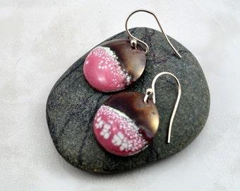 Bubble Gum Pink Enameled Copper Earrings