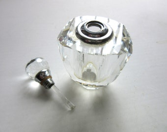 Crystal Glass Perfume Applicator with Scent Wand Faceted Bottle & Top