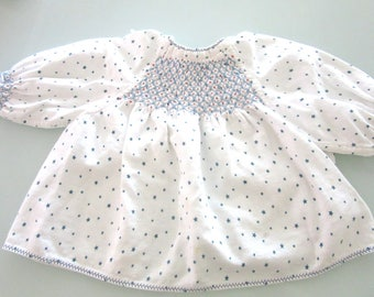 Hand Smocked Flannel Baby Gown or Doll Dress Retro