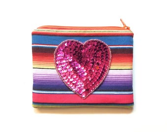 Sequin Heart ID/Card pouch
