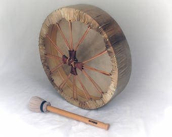 Shaman Drum FrameDrum 45cm Ritual Drum Beechwood Frame - Natural Finish - Metal Free Goat Skin - Leather Lacing -  by KleoDrums