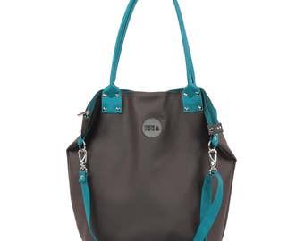 Big Shoulder Bag/  Graphite Turquise / Waterproof/ City Bag