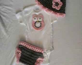 Crochet baby girl owl onesie set