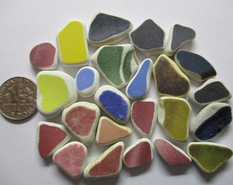 BEACH SEA POTTERY Shards 12mm - 20mm Green Red Brown Blue Pink Black Yellow 24 Surf Tumbled Natural Ceramic Shard Undrilled Beads  U 553a