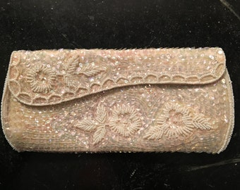 Iridescent Sequined and Beaded Clutch by La Regale