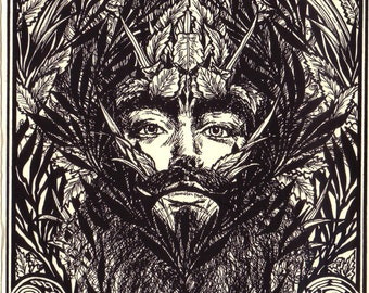 The Green Man - Magical Art, Pagan, Wiccan, Pre-Christian, Celtic Motifs, Jack in the Green, May King, Bitcoin Accepted