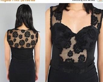 SALE 25% OFF Vtg 90s Black Lace Mesh Bustier Cropped Top Shirt S M