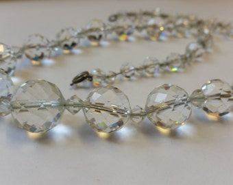 Heavy Vintage Glass Crystal Necklace on Chain