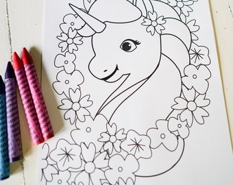 unicorn birthday party activity unicorn coloring in page rainbow labels instant download