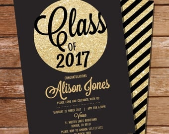 Black and Gold Graduation Invitation - Gold Graduation Invitation - Gold Glitter Invitation - Instant Download & Edit File with Adobe Reader