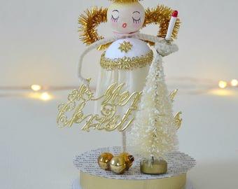 Spun Cotton Angel / Christmas Ornament / Retro Style