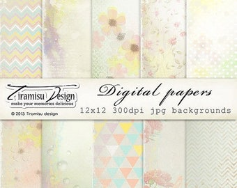 ON SALE Scrapbook Papers and Digital Paper Pack 20-Summer Delight