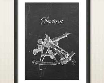 Antique Engineering Sextant, Art Poster Print, Nautical tool Poster, Sailing Sextant, Compass, Sailing Navigation, Sailing Art