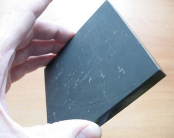 Polished Shungite tile healing protection collectible metaphysical mineral specimen stone Plate 10 x 10 cm