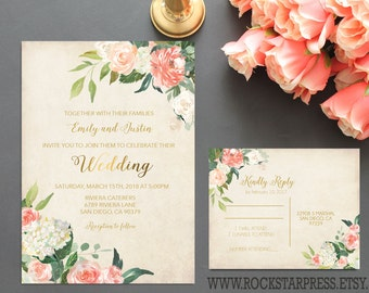 Floral Watercolor Wedding Invitation Plush and Gold Wedding Invite RSVP Digital Printable Files _1282
