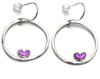 Purple heart sterling silver pendant earrings