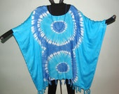 Tie Dye Double Swirl Blue and Turquoise Tunic Top Caftan Poncho with Fringe - Wear with white!  Perfect for summer picnics and parties