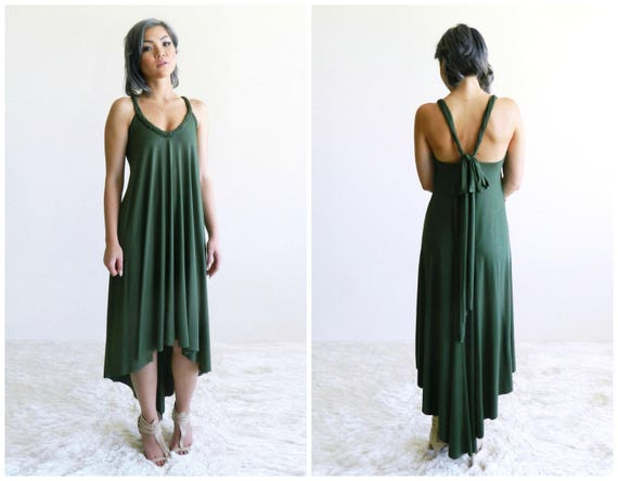 Fern High-Low Maxi Dress / Olive Green / Bridesmaid / Convertible / Flowy Dress / Low Back / Spring Dress / Summer Dress / Resort Fashion
