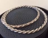 Vintage Sterling Silver Twisted Bangle Bracelet Set, Unisex Men's Vintage Sterling Bangle Bracelet Set, Sterling Silver Bangles