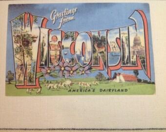 Wisconsin Kitchen Towel With Vintage State Postcard Design