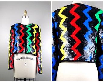 ZIG ZAG Sequin Bolero Jacket // Primary Color Sequined Cropped Jacket // Chevron Sequin Jacket // Electric Sequin Jacket Small