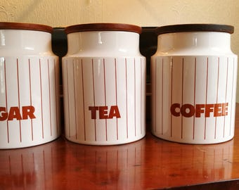 ホーンジー 茶色ストライプ キャニスター、sugar, tea and coffee. Hornsea brown  stripe three set canisters
