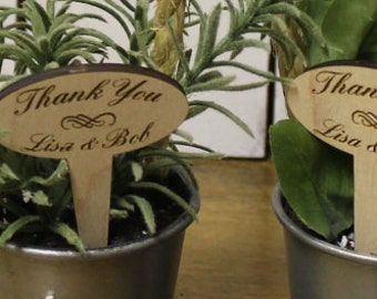 Favors Stakes/Wedding Stakes/Thank you/Personalized/Names/Wooden Stakes/Plant Stakes/Engraved/Reception/10 Wooden Stakes/Wedding Favors