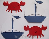 6 Nautical (3 size options) Theme Decorations, Diecut Cutouts, for Diaper Cake, Centerpiece, Birthday, Baby Shower, Red, White and Navy Blue