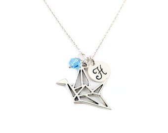 Paper Crane Necklace - Oragami Charm - Swarovski Birthstone - Personalized Initial Necklace - Sterling Silver Jewelry - Gift for Her
