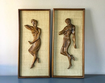 vintage carved wood man woman framed wall art mcm retro boho decor