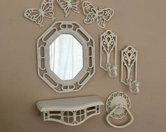 vintage Homco white faux bamboo bathroom set mirror sconces shelf towel ring and butterflies 1980s