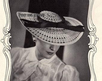Instant Digital Pattern Women's Crochet 1930s Hat #3724 PDF