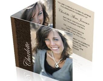 Printed Beautiful Tri Fold Graduation Announcements - sets of 25
